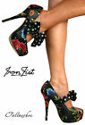 IRON FIST SOCIETY SUICIDE GLAM FLOWER POLKA PLATFORM STILETTO HEELS SHOES UK4-9