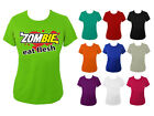 Womens Zombie Eat Flesh Subway Parody Funny Slogan T-shirt NEW UK 6-18