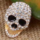 Cool Crystal Skull Black Eye Jewelry Gold GP Ring Size #7 #8 #9 Free Shipping