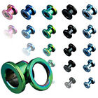 Pair Titanium Anodized Screw Fit Ear Plugs Tunnels Earlets Earrings Gauges