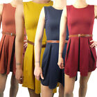 Ladies Skater Dress Sleeveless Tailored Short Party Pleated Belt Top Womens Size
