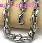 Mens Boys Heavy 11.5mm Silver Stainless Steel Solid Hollow Oval Chain Necklace