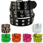 Double Grommet Holes Leather Belt 2-Row Studded Removable Buckle Unisex Womens