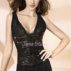 Shaper Waistcoat UnderBust Corset Top Black Leather (Faux) UK Size S M L XL 2XL