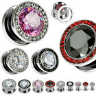 Pair Steel Large CZ Gem Rim Screw Fit Ear Plugs Tunnels Earlets Gauges