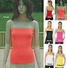 FORM FITTING SEAMLESS STRAPLESS CAMISOLE STRETCH CAMI TOP O/S S M L XL