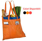 spaziosa borsa bag shopper con impunture decorative lunghe maniglie e tasche