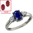 1.26 Ct Genuine Oval Blue Sapphire Gemstone Sterling Silver Ring with Gift