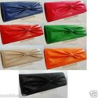 NUDE RED PINK GREEN BLUE ORANGE BLACK BOW PATENT CLUTCH BAG WEDDING PARTY PROM
