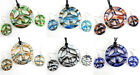 Polychrome Peace Sign Round Lampwork Murano Glass Pendant Necklace Earrings Set