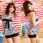 Classic Black & White Zebra Bow Knot Tankini Set Swimsuit Bademode  GW230