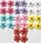 4 Padded Fabric Sparkle Flowers Card Making Scrapbook Craft Choose Your Colour