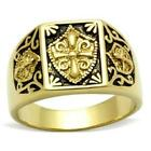 Great looking Gold Ionized Plating (IP) Men Knights Templar Ring sz 8-13