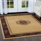 ORIENTAL BEIGE MEDALLION BORDER AREA RUG PERSIAN MULTI-COLOR CARPET