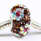 NEW TRUE 925 SILVER FINDINGS COLOUR CZECH CZ CRYSTAL FLOWER EUROPEAN CHARM BEAD