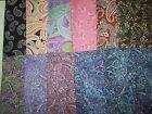 Awesome PAISLEY prints 100% cotton fabric AENathan Co 1 yd found black & purple