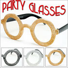 Party Glasses Round Glitter Black Gold Silver Halloween Costume Eyewear PY2011