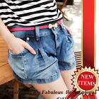 Antique Blue Denim Double Button With Pleated Puff Side Pocket Shorts XS-S-M-L