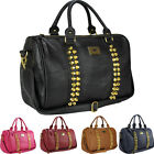 Ladies Womens Leather Style Stud Studded Large Barrel Satchel Hobo Tote Hand Bag