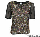 VERO MODA DAMEN BLUSE, SHIRT IXUS 2/4 TOP HC WALL AUG BLACK GR. XS,S,M,L,XL