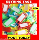 KEY RING ASSORTED COLOURED PLASTIC ID TAGS + NAME/ID CARD LANGUAGE FOB LABELS