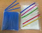 50 x 89mm BLUE PLASTIC LOLLIPOP STICKS CAKE POP KIT INCLUDES BAGS & TWISTTIES
