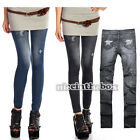 New Women's Footless Skinny Denim Jeans Look Leggings Jeggings Printed Pant N98B