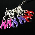SILVER COLOR RIBBON BREAST CANCER  AWARENESS CHARM CLASP PENDANT BEADS WHOLESALE