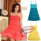 Cute Flowers Embellished Spaghetti Straps High Waist Chiffon Mini Dress UJ3305
