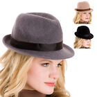 Ladies 100% Wool Fedora Trilby Stylish Fashion Hat With Fabric Band One Size New