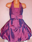 GIRLS PURPLE BOW TRIM PUFFBALL HALTERNECK BRIDESMAID PROM PARTY DRESS with SCARF