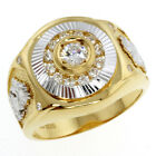 Stunning Cubic Zirconia High Polished Gold Plated Sterling Silver Men's Ring