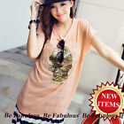 Pink Sexy Punk Rock Hollywood Young Star Skull Insert Crochet Lace Top M-L