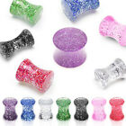 Pair (2) Solid Acrylic Ultra Glitter Ear Saddle Plugs Tunnels Earlets Gauges