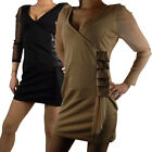 Ladies Mini Dress Top Chiffon Longsleeved Womens V-Neck Party Sexy Slimming Club