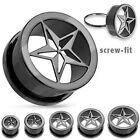 Pair Black Punk Star Screw Fit Hollow Ear Plugs Tunnels Earlets Gauges