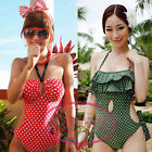 Vintage Ruffle Keyhole Polka Dot One Piece Monokini Swimsuit Bathing Suit SW391