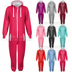 WOMENS LADIES PLAIN ONESIE ALL IN ONE PIECE LONG JUMPSUIT HOODED WARM PLAYSUIT