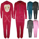 WOMEN LADIES SKULL SEQUIN DETAIL SOFT ONESIE ALL IN ONE JUMPSUIT HOODED PLAYSUIT