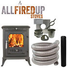 6kW Cast Iron Wood Burning Multi Fuel Stove + Complete Flexible Flue Lining Kit