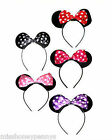 Minnie Mouse Ears Polka Dot Bow Headband Fancy Dress Red Black Pink Purple 80s