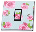 Blue Shabby Chic Pink Roses Light Switch Sticker vinyl skin cover decal floral