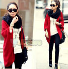 Fashion Womens Loose Batwing Sleeve Wool Weave Cardigan Sweater Coat Jacket Tops