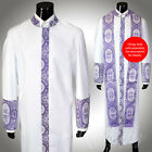 Clergy Robe Cadillac White Lavender All Sizes Cassock Royalty Cross Embroidery