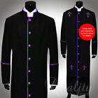 Clergy Robe All Sizes Solid Black Purple Piping Cassock Full Length Preacher
