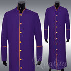 Clergy Robe All Sizes Solid Purple Gold Piping Cassock Full Length Preacher $200