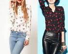 RED LIPS PATTERN SILK-LIKE LAPEL NECK LONG SLEEVE T-SHIRT TOPS BLOUSE
