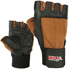 Weight Lifting Gloves Leather Exercise Gym Training Fitness Glove Black / Brown