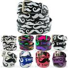 Mustache Printed Leather Belt Removable Buckle Trendy Fashion Unisex Womens Teen