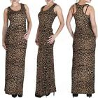 New Womens Ladies Leopard Animal Print Racer Back Long Maxi Dress Plus Size S XL